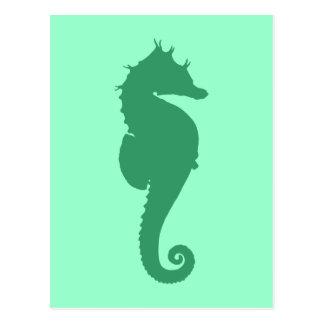 Carte Postale Silhouette verte d'hippocampe