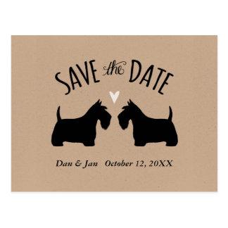 Carte Postale Silhouettes de Terrier d'écossais épousant des