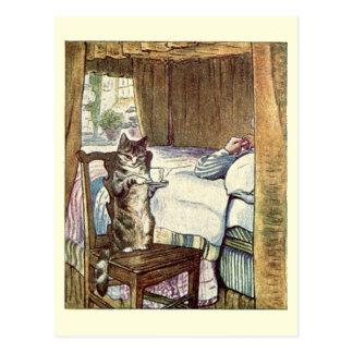 Carte Postale Simpkin le chat sert le thé - Beatrix Potter