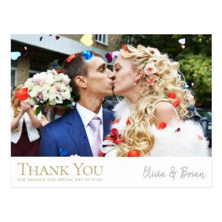 Carte postale simplement chic de Merci de mariage