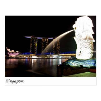 Carte Postale Singapour Merlion à la baie de marina