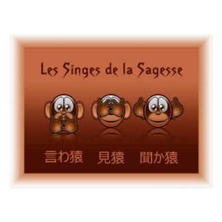 carte postale singes de la sagesse