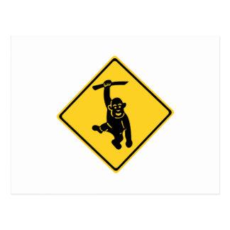 Carte Postale Singes de précaution, poteau de signalisation,