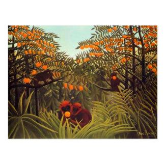 Carte Postale Singes de Rousseau dans l'orangeraie