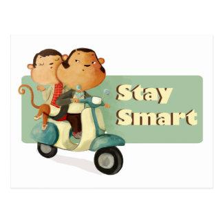 Carte Postale Singes futés de scooter de séjour