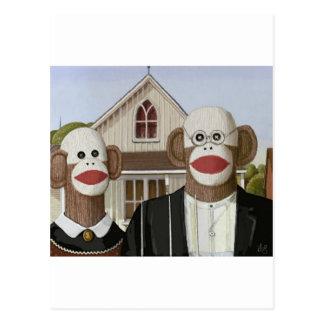 Carte Postale Singes gothiques américains de chaussette