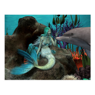Carte Postale Sirène et dauphin