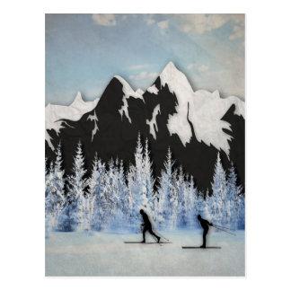 Carte Postale Ski de pays croisé