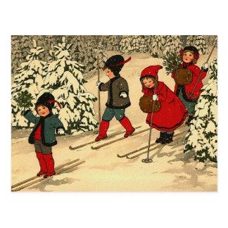 Carte Postale Ski d'hiver
