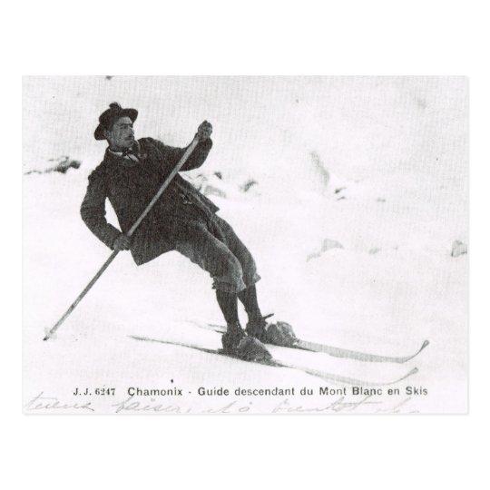 Carte Postale Ski vintage, Mt de descente Blanc sur des skis | Zazzle.fr
