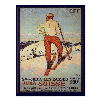 Carte Postale Ski vintage, rasses de les de St Croix, Jura