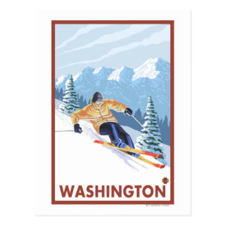 Carte Postale Skieur de neige de Downhhill - Washington