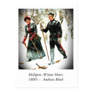 Carte Postale Skieurs d'hiver