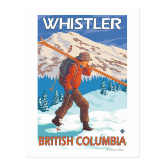 Carte Postale Skis de transport de neige de skieur - Whistler,