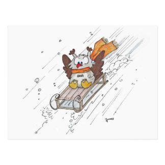 Carte postale SLEDDING de HIBOU par Nicole Janes