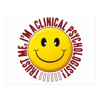 Carte Postale Smiley de confiance de psychologue clinicien
