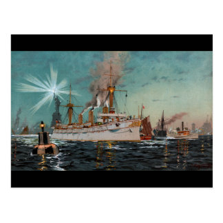 Carte Postale SMS Kaiserin Augusta quittant New York par