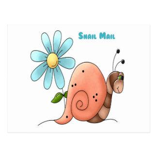 Carte Postale snail mail avec la fleur bleue