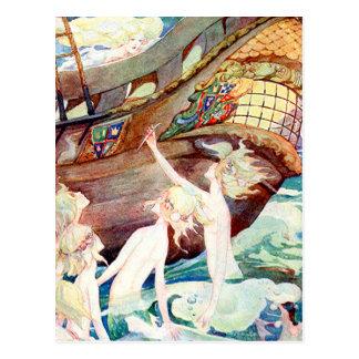 Carte Postale Soeurs et bateau de sirènes