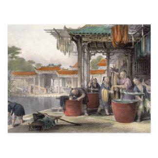 Carte Postale Soie de teinture et de enroulement, de 'Chine
