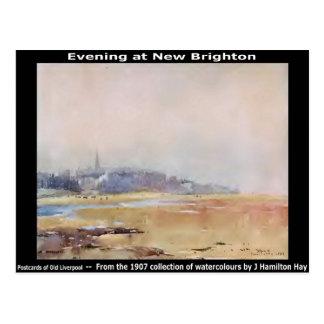 Carte Postale Soirée à nouveau Brighton, Wirral.