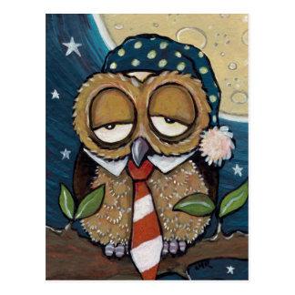 Carte postale somnolente d'art de hibou d'affaires