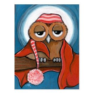 Carte postale somnolente de hibou