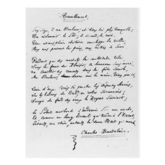 Carte Postale sonnet signé par Recueillement', 1861