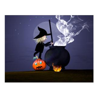 Carte Postale Sorcière et chaudron de Halloween
