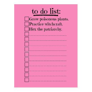 Carte Postale Sorcière féministe pour faire la liste