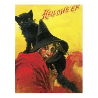 Carte Postale Sorcière vintage et chat de Halloween