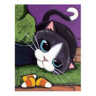 Carte Postale Sorcières casquette de chat de smoking et bonbons