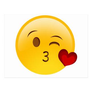 Carte Postale Soufflez un autocollant d'emoji de baiser