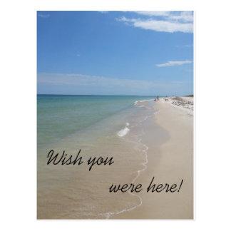 Carte Postale Souhait vous étiez ici scène de plage
