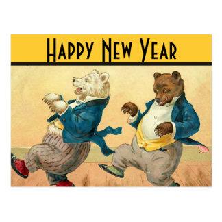 Carte Postale Souhaits de danse de nouvelles années d'ours