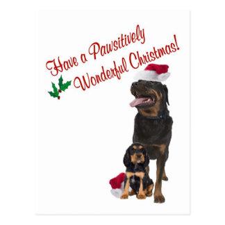 Carte Postale Souhaits de Noël de rottweiler