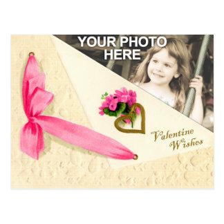 Carte Postale Souhaits vintages de Valentine - modèle photo fait