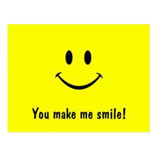 Carte postale souriante de visage vous m'incitez à