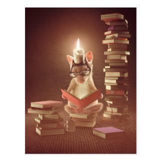 """Carte postale : """"Souris lisant un livre """""""