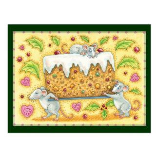 Carte Postale Souris mignonnes de Noël portant un dessert de