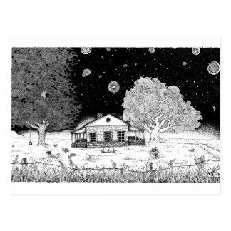 Carte Postale Sous l'illustration à l'encre d'étoiles