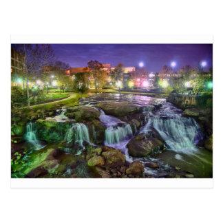 Carte Postale sout du centre de nuit de ville de Greenville la
