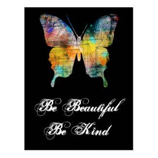 Carte Postale Soyez beau, soyez papillon aimable