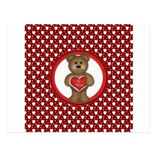 Carte Postale Soyez le mien, ours debout de Valentine, coeurs,