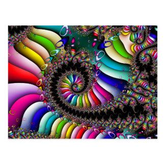 Carte Postale Spirale multicolore de fractale