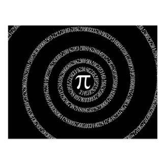 Carte Postale Spirale pour la typographie de pi sur le noir