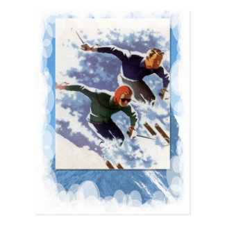 Carte Postale Sports d'hiver vintages - course