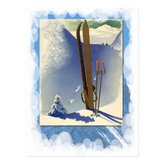 Carte Postale Sports d'hiver vintages - skis et pentes