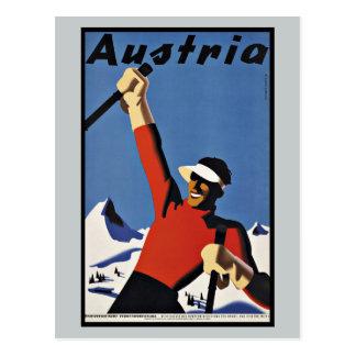 Carte Postale Sports vintages de ski de l'Autriche de voyage