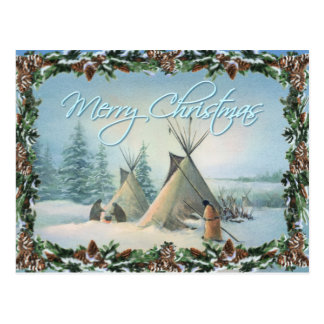 Carte Postale SQUAW et BRANCHES de CAMP de TIPI par SHARON